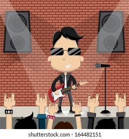 Rock star guy character design. Vector