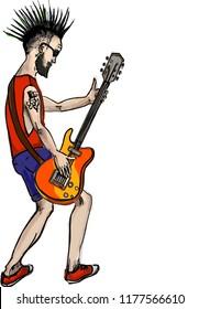 The rock star man playing guitar