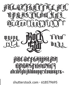Rock Star - modern gothic Style Font. Gothic letters with alternate decoration elements. Vector alphabet