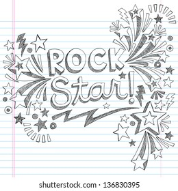 Rock Star Music Back to School Sketchy Notebook Doodles with Music Notes and Swirls- Hand-Drawn Illustration Design Elements on Lined Sketchbook Paper Background