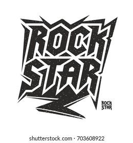 Rock star music culture lettering Illustration vector design