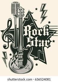 Rock star music emblem