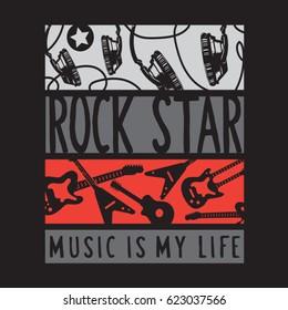 Rock star music guitar typography, tee shirt graphics, vectors