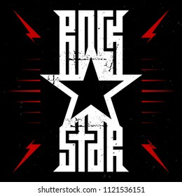 Rock star - music poster with red lightnings and stars. Rockstar - t-shirt design. T-shirt apparels cool print with star.