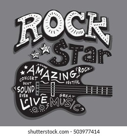 Rock star music typography, t-shirt graphics, vectors