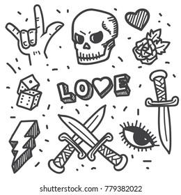 Rock star, punk rock generation doodle set
