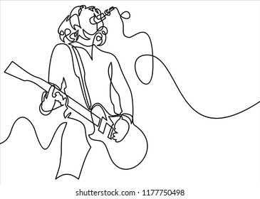rock star singing with guitara and micorphone-continuous line drawing