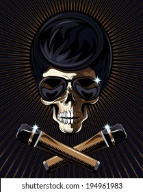 Rock star skull with a macabre bony skull wearing trendy modern sunglasses with an Elvis hairdo and two crossed microphones in the foreground on a dark background with radiating brown rays
