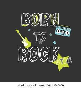 rock star slogan illustration vector for print