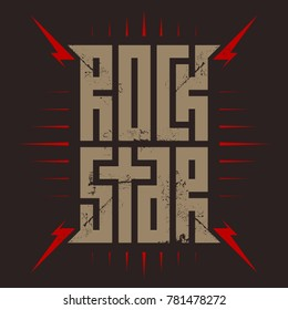Rock Star - t-shirt design for woman or man. T-shirt apparels cool print for girls. Rockstar - music poster with red lightnings.