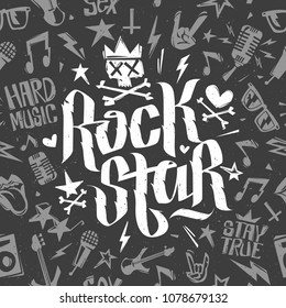 Rock Star White Lettering Calligraphy with grunge style Rock n Roll elements. Rock and Roll music seamless pattern isolated on black background