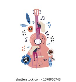Rock stars flat hand drawn vector characters. Tiny blonde musicians tuning guitar. Female guitarists playing musical instrument scandinavian style clipart. Music festival poster design element