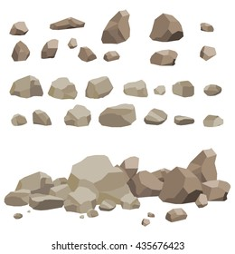 Rock stone big set cartoon. Stones and rocks in isometric 3d flat style. Set of different boulders. Video Game