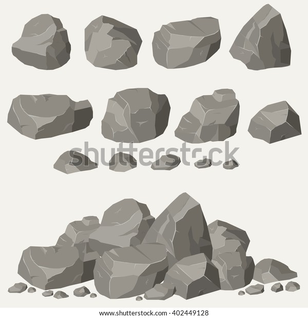 Rock stone cartoon in isometric 3d flat style. Set of different boulders