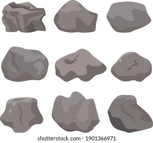 Rock stone cartoon vector set in a flat style with variety of shapes. Cartoon props for outdoor decor.