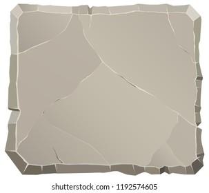 Rock stone front view cartoon. Polygonal broken boulder. Natural background. Landscape design. Cracked Concrete backdrop. Vector