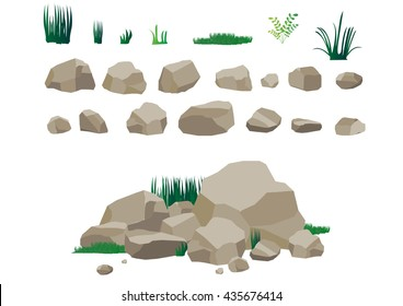 Rock stone and grass set cartoon. Stones and rocks in isometric 3d flat style. Set of different boulders. Video Game
