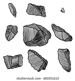 Rock stone hand drawn style. Big set of different boulders. Collection of illustrated cracked and damaged stones rubble architecture design. Gold nugget or prill. Vector.