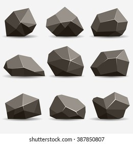 Rock stone isometric view set 3d, flat style different gray boulders with shadow