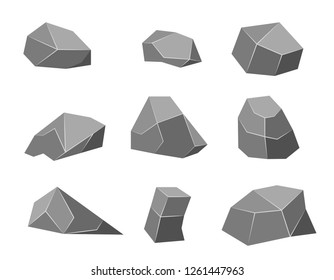 Rock stone set cartoon. Stones and rocks in isometric 3d. Vector illustration.