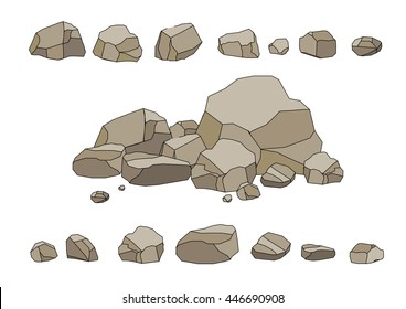 Rock stone set cartoon. Stones and rocks in isometric 3d flat style. Set of different boulders. Video Game. Cartoon. Black stroke