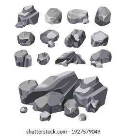 Rock stones, boulder piles and broken rubble, vector isolated set. Rock stones or wall building and construction debris, flat cartoon illustration, gray gravels of concrete or granite rock blocks