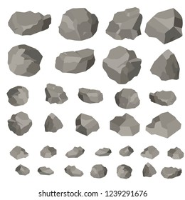 Rock and stones cartoon, vector illustration isolated on white background. Large and small stones in isometric 3d flat style