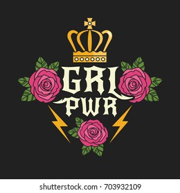 "Rock style ""Girl Power"" t-shirt print. Vector illustration with feminist slogan and colorful girlish symbols, such as roses and crown. Isolated on black background."