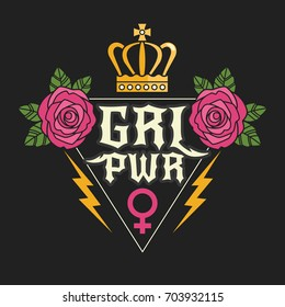 "Rock style ""Girl Power"" t-shirt print. Vector illustration with feminist slogan and colorful girlish symbols, such as roses, crown and female gender symbol. Isolated on black background."