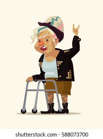 Rock style grandma character. Vector flat cartoon illustration