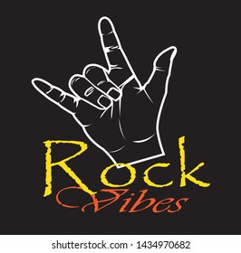 Rock symbol, hand gesture. Cool, silhouette, respect, communication icon. Vector illustration