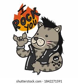 I rock you , rocker tabby cat cartoon vector illustration