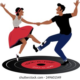 Rockabilly couple dancing on a vinyl rock and roll  record