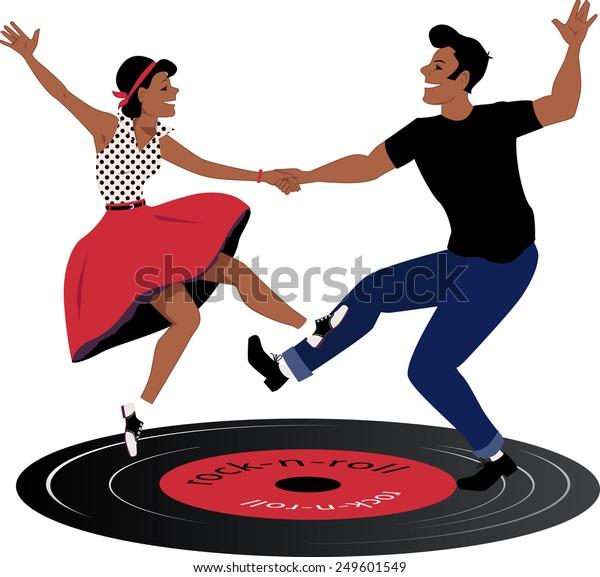 Рокабилли пара танцует на виниловом рок-н-ролл-пластинке