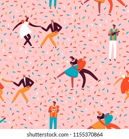 Rockabilly dance party with dancing rock n roll couple and musician seamless pattern in vector. Cartoon illustration with funny characters.