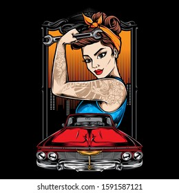 rockabilly girl with lowrider car vector