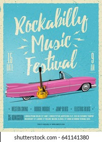 Rockabilly Music Festival Poster Flyer. Vintage Styled Vector illustration