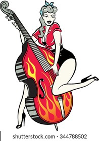Rockabilly pinup girl playing double bass with flames