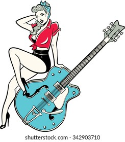 Rockabilly pinup girl sitting on vintage guitar