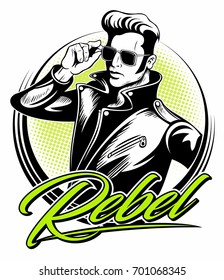 Rockabilly rebel in leather jacket with a fifties hairstyle and sunglasses, vector logo.
