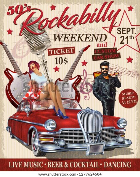 Rockabilly retro poster.