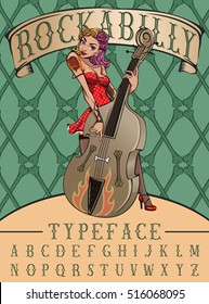 Rockabilly typeface poster. Vintage typeface with pinup rock girl playing on contrabass and crossbones background.