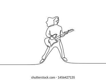 Rocker guitar player continuous single one line drawing minimalism