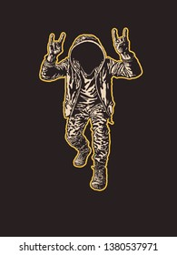 Rocker Shows Sign Of The Horns Symbol. Scary man without a face in the hood  with characteristic heavy metal hand gesture. Vector Illustration.
