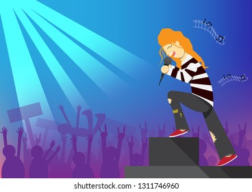 Rocker is singing on stage with people having fun on light background.