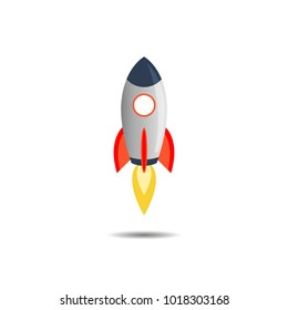 Rocket  Art Vector and illustration flying rocket.Space travel to the moon.Space rocket launch.Project start up rocket Solar System and text space