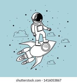Rocket astronaut and stars design vector illustration