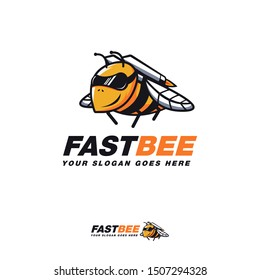 Rocket bee cartoon mascot logo icon vector template on white background