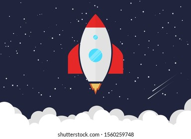 Rocket with cartoon style and flat color launch to the moon