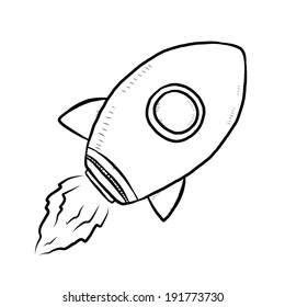 rocket / cartoon vector and illustration, black and white, hand drawn, sketch style, isolated on white background.